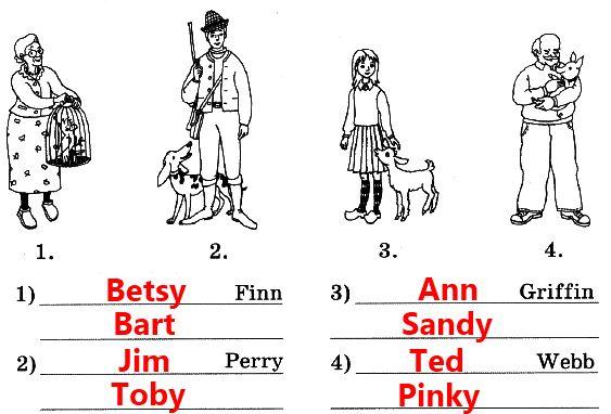 4. Придумай и напиши имена этих людей и клички их питомцев