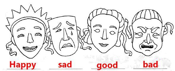 4. Сделай подписи под этими карнавальными масками. Используй слова sad (грустный) , happy (весёлый), bad (плохой), good (хороший). Раскрась маски.