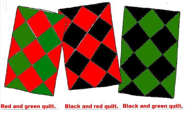 4. Раскрась эти три стёганых одеяла и сделай подписи к рисункам. Используй те цвета, названия которых ты знаешь.