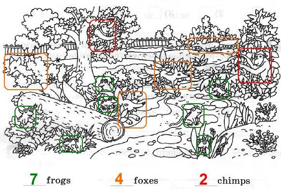 4. Напиши, сколько лягушек, лис и шимпанзе ты можешь найти на этом рисунке.