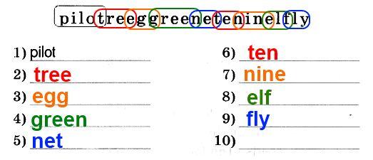 1. Сколько слов ты можешь найти в этой цепочке? Напиши их.