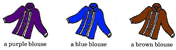 4. Раскрась блузки такими цветами, чтобы подписи под картинками были верными.