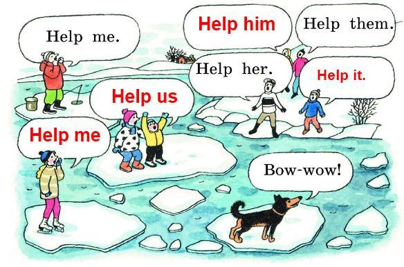Посмотри на картинки и скажи, что кричат те, кто попал в беду, и те, кто стоит на берегу и зовёт на помощь взрослых.