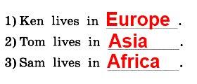 Послушай аудиозапись и напиши, кто из мальчиков живет в Африке, кто в Европе, а кто в Азии