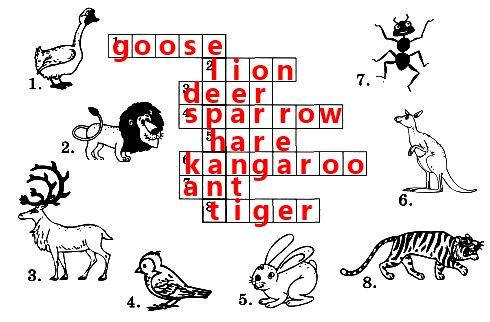 Разгадай кроссворд. По вертикали ты сможешь прочитать название африканского животного