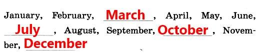 Повтори названия месяцев за диктором и впиши в этот ряд четыре недостающих слова