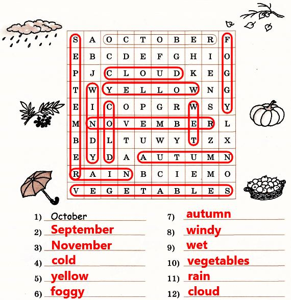 "Find 11 ""autumn"" words in the square and write them"