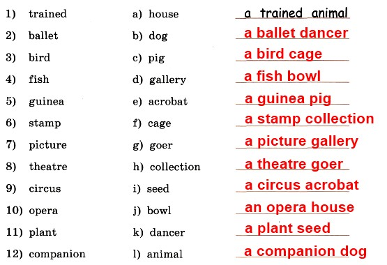 15. Put the words from the two columns together to make new words or word combinations and write them