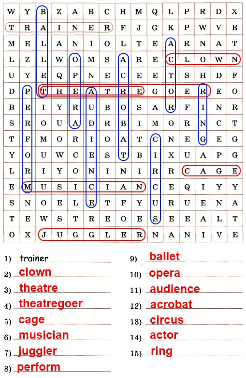 "Find 14 ""theatre and circus"" words in the square and write them down"