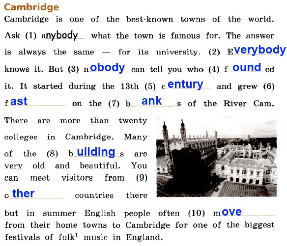 19. Choose the necessary words from the wordbox in your textbook (part 1, p. 42) and complete the text