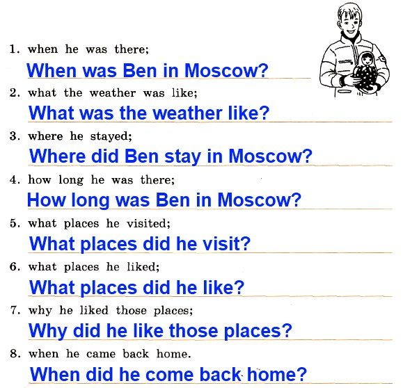 30. Write 8 questions about Ben's visit to Moscow. You want to know